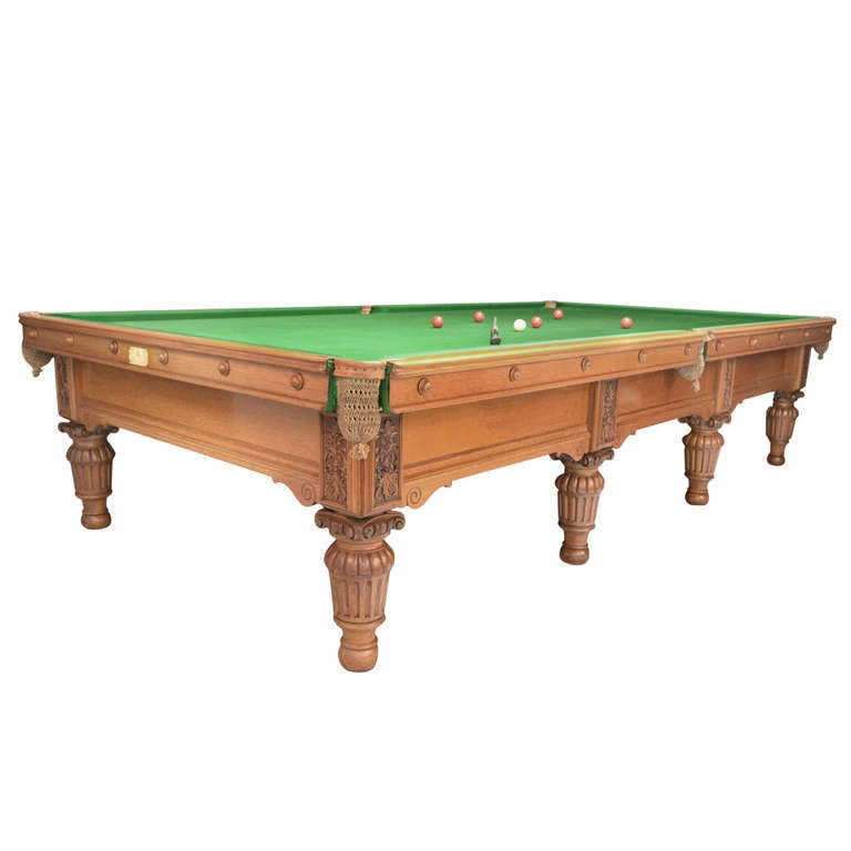 Billiard Snooker Pool Table By George Wright, Circa 1885 For Sale