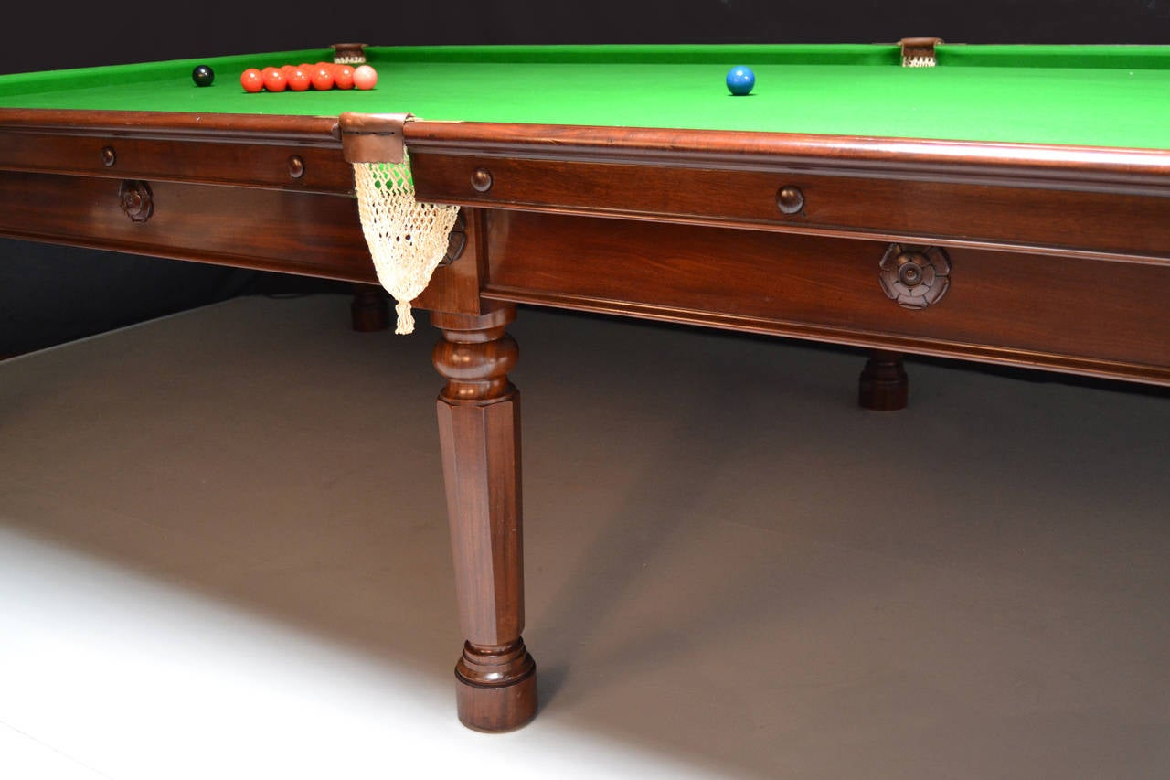 A 12ft x 6ft  outstanding original Gillows antique billiard table, this table is the epitome of understated elegance, standing on six finely tuned octagonal legs with beautifully carved Tudor Rose Patrae to the frame and leg blocks.  We believe this