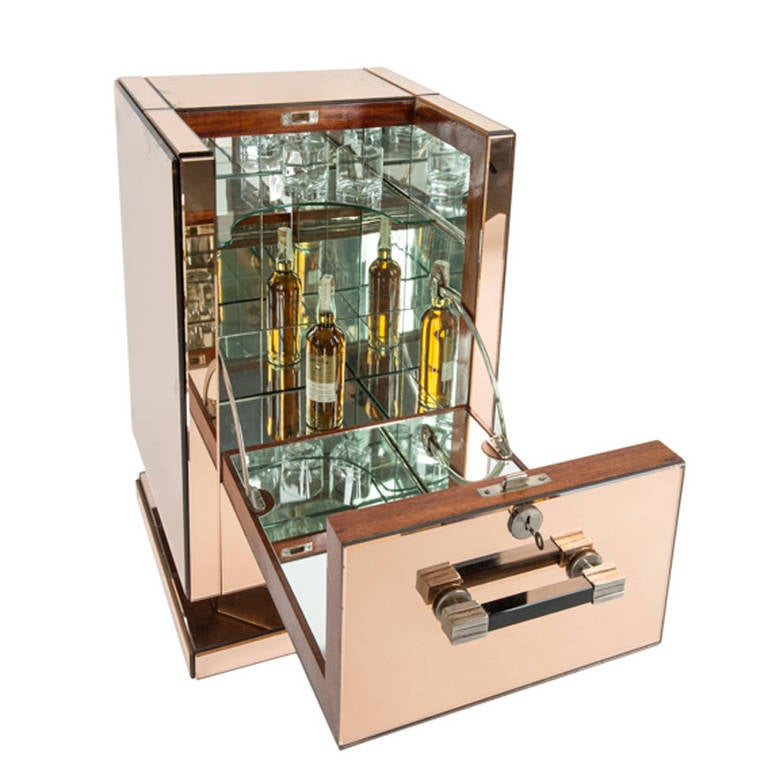 Art Deco Mirrored Bar Cabinet At 1stdibs