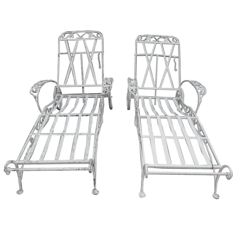Salterini Chaise Lounges, Mt Vernon Pattern in Wrought Iron, Four available