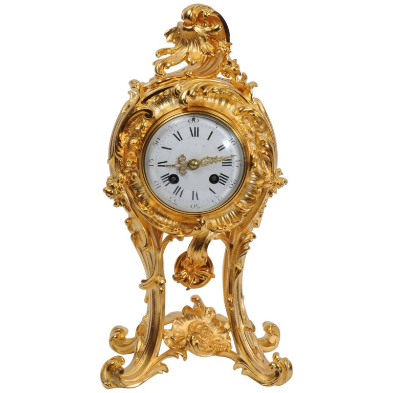 Superb Rococo Ormolu Clock with Visible Pendulum by Emile Colin, Paris For Sale