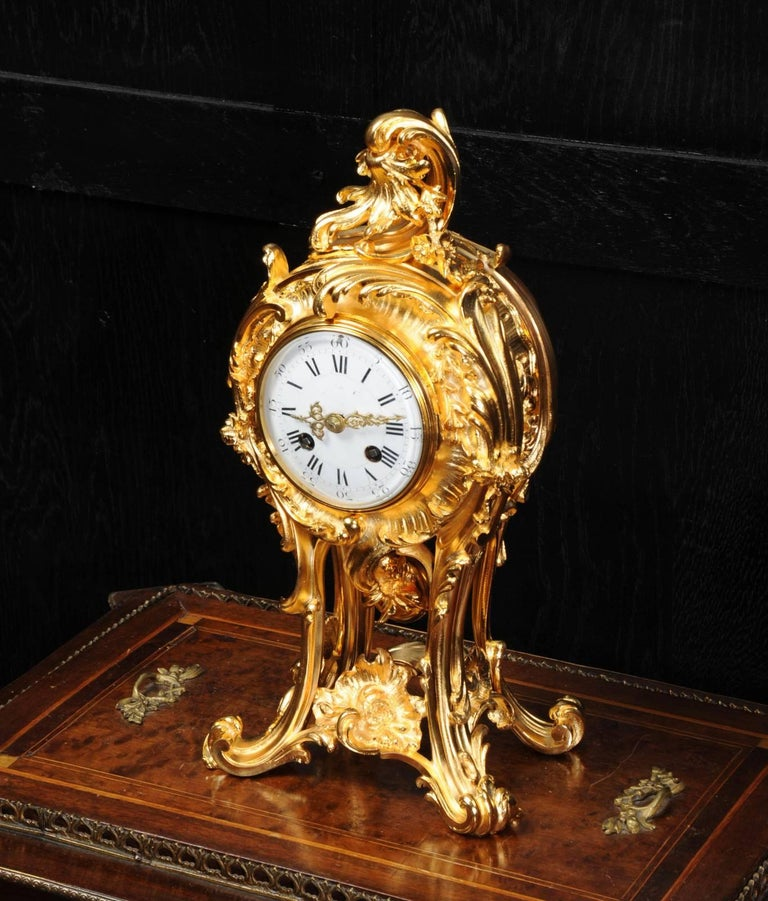 French Superb Rococo Ormolu Clock with Visible Pendulum by Emile Colin, Paris For Sale