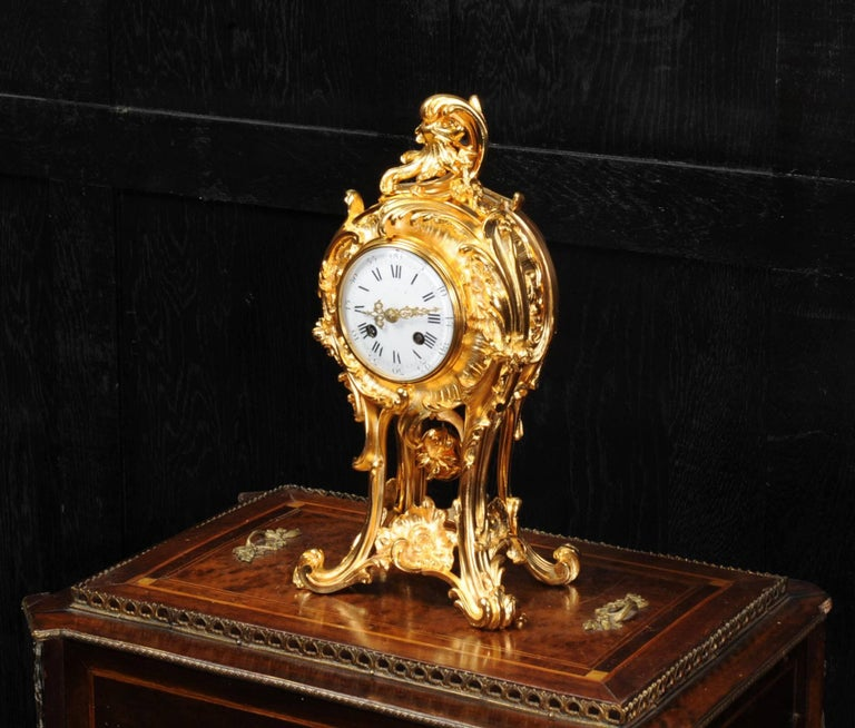 Superb Rococo Ormolu Clock with Visible Pendulum by Emile Colin, Paris In Excellent Condition For Sale In Belper, Derbyshire