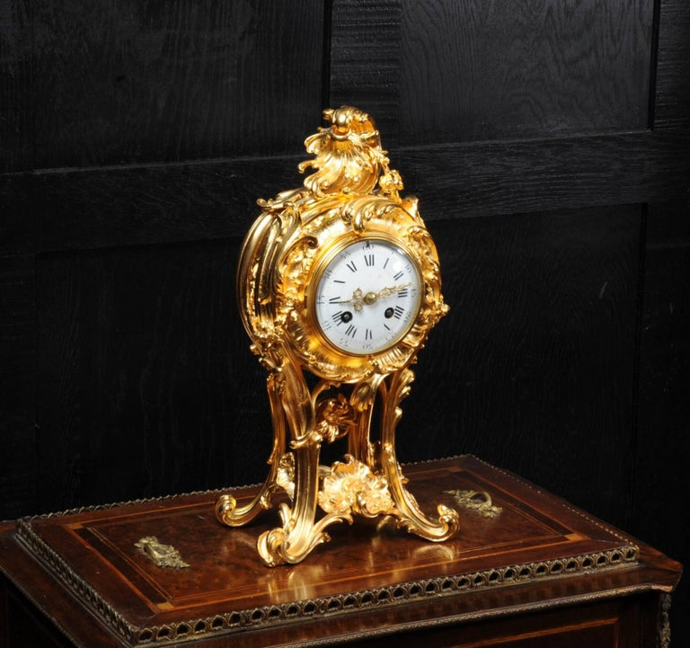 19th Century Superb Rococo Ormolu Clock with Visible Pendulum by Emile Colin, Paris For Sale
