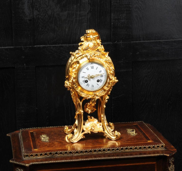 Superb Rococo Ormolu Clock with Visible Pendulum by Emile Colin, Paris For Sale 1