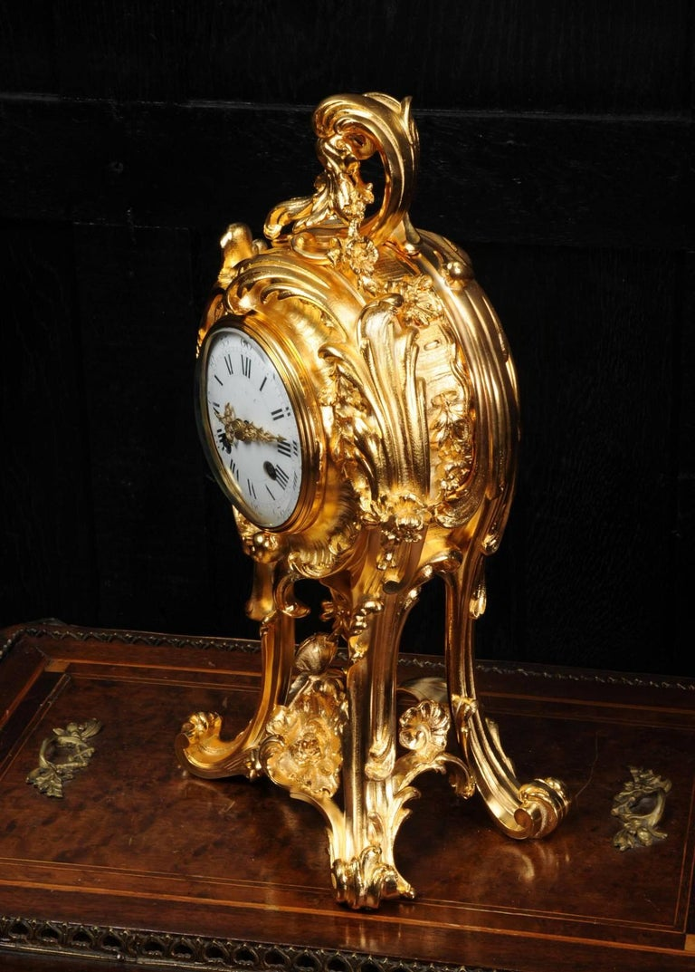 Superb Rococo Ormolu Clock with Visible Pendulum by Emile Colin, Paris For Sale 4