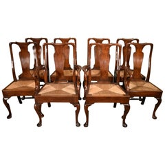 Attractive Set of Eight George II Oak Dining Chairs