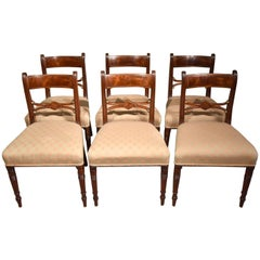 Good Set of Six Regency Brass Inlaid Dining Chairs