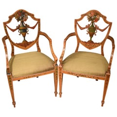 Very Fine Pair of 19th Century Satinwood Painted Armchairs