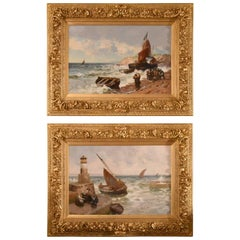 """Pittenween Harbour Fifeshire"" Pair of Oils by Alexander Young"