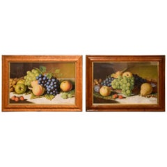 """Still Life of Fruit"" Pair by Alexander Stanesby"