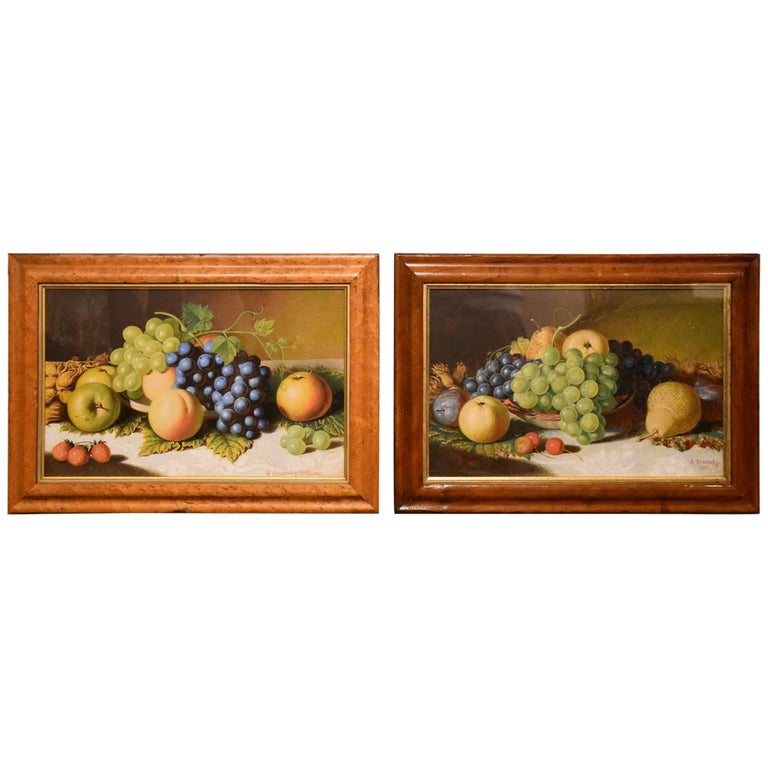 """""""Still Life of Fruit"""" Pair by Alexander Stanesby"""