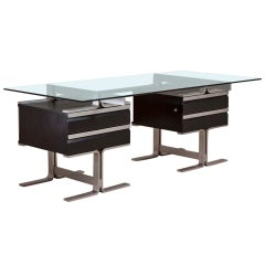 1960s Italian Aluminum and Glass Rectangular Desk