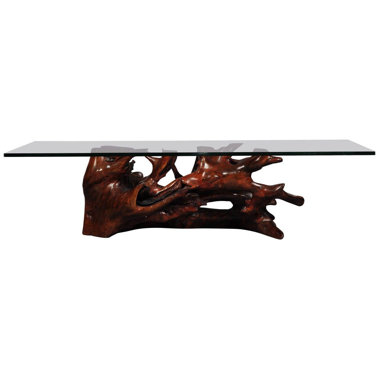 Big Wood And Glass Coffee Table At 1stdibs