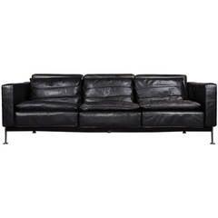 Robert Haussmann Black Leather Sofa