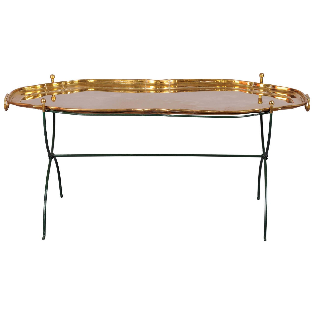 French Brass And Metal Coffee Table At 1stdibs