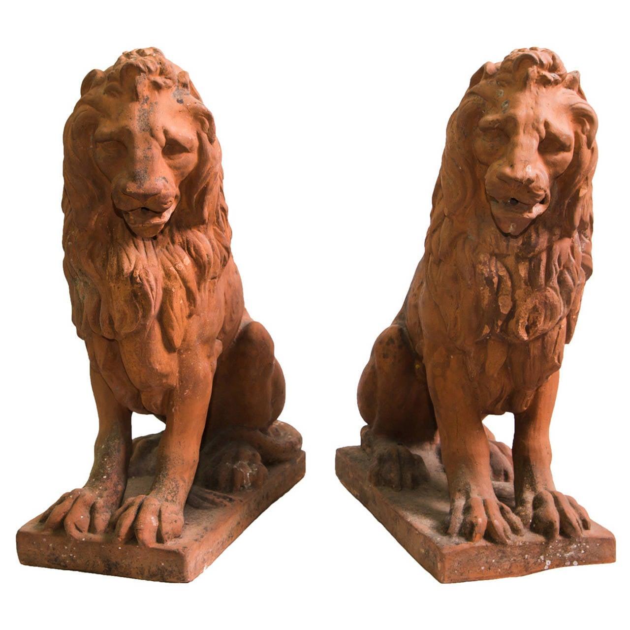 19th Century Pair of Terracotta Italian Lion Sculptures at ...