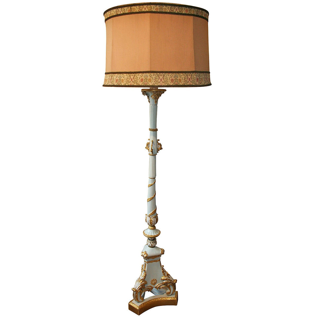 20th Century Limoges Lamp Golden And Light Blue At 1stdibs