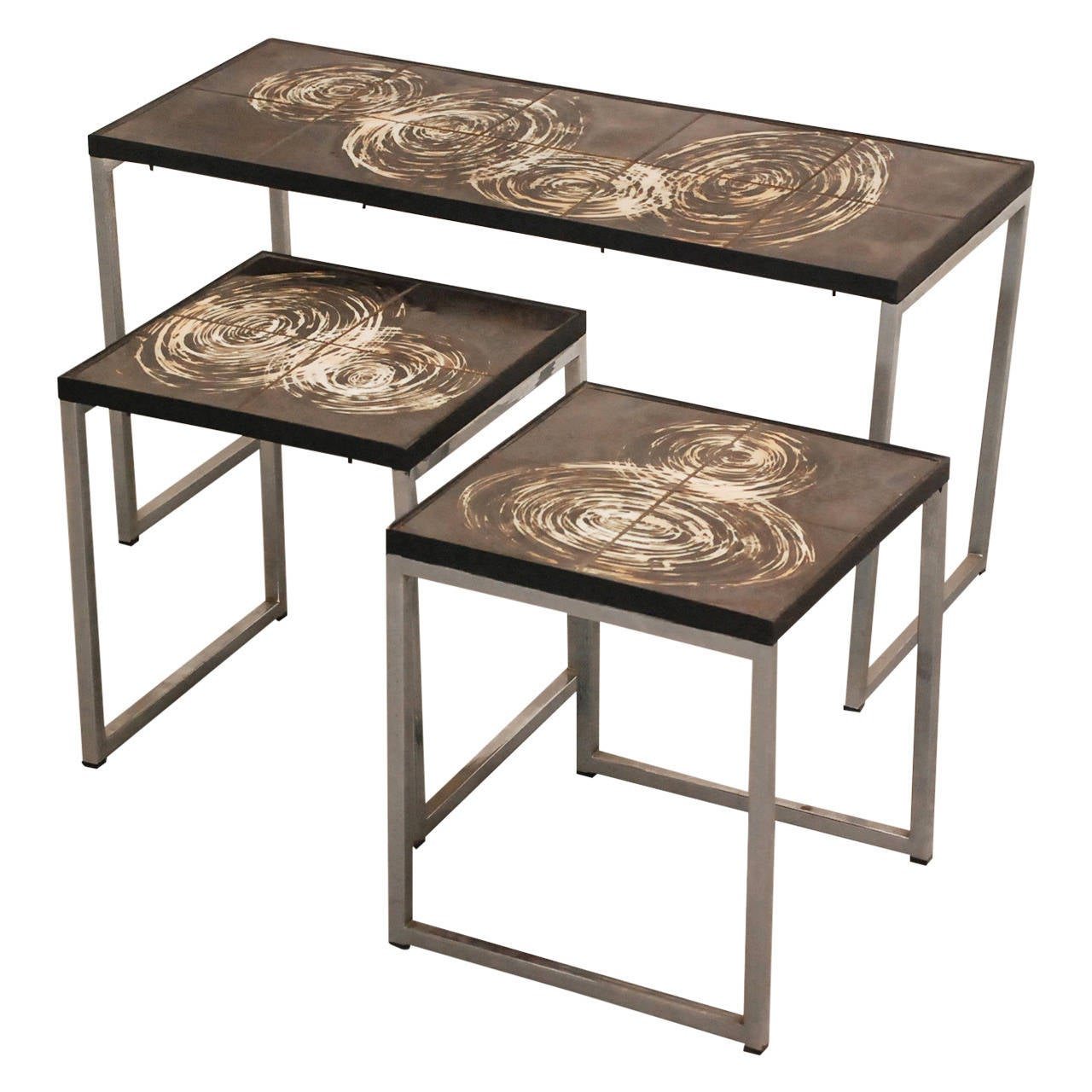 Belarti Coffee Table With Two Side Tables With Hand Painted Tiles At 1stdibs