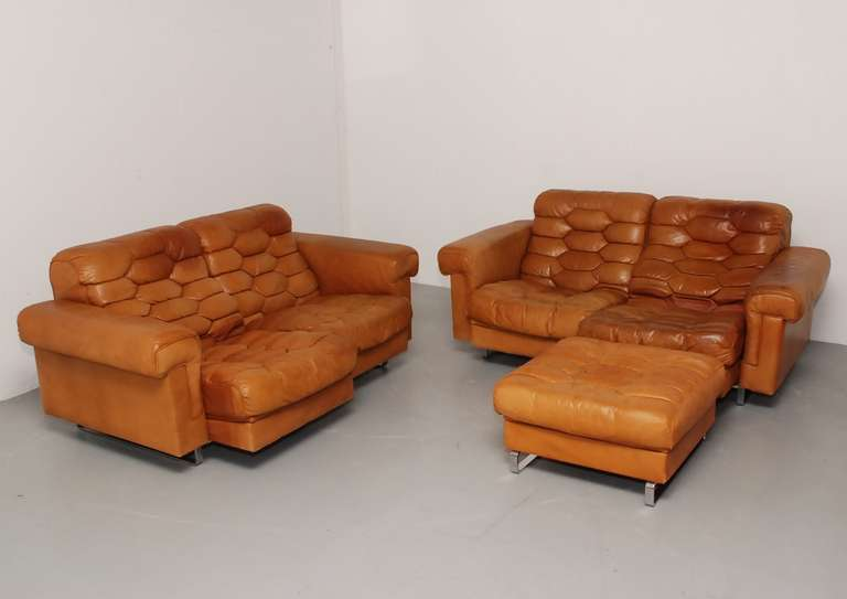 superb original de sede ds p two seater couch in cognac. Black Bedroom Furniture Sets. Home Design Ideas