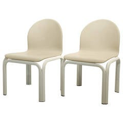 Rare Set of Two Gae Aulenti Chairs in Creme Leather