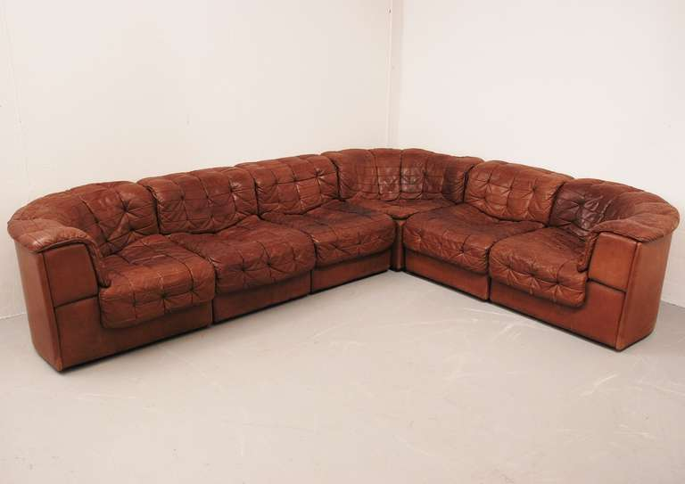 Superb de sede ds 11 sofa in cognac colored leather with club chair at 1stdibs - Hoek sofa x ...