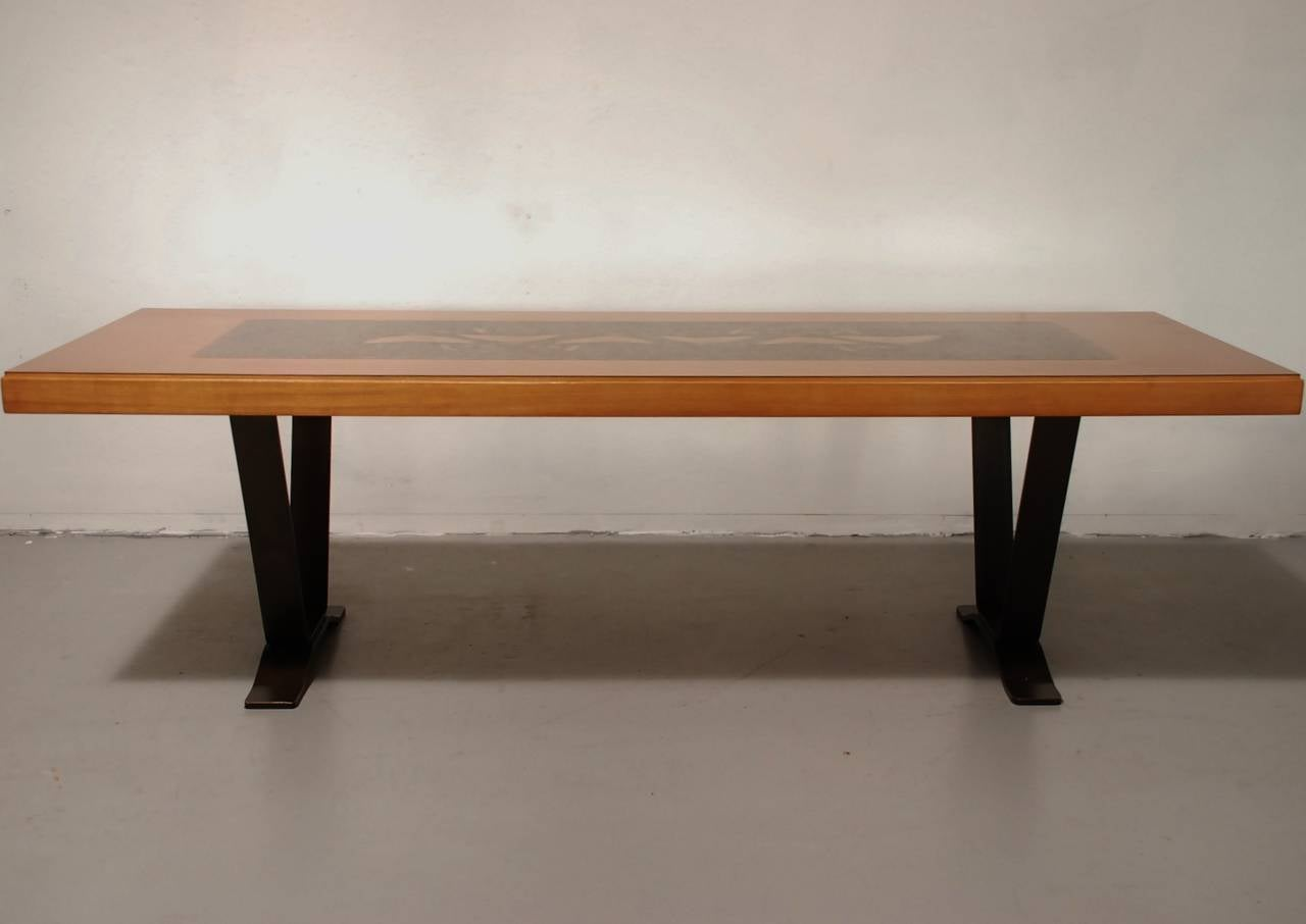 Coffee Table With Etched Copper Surface For Sale At 1stdibs