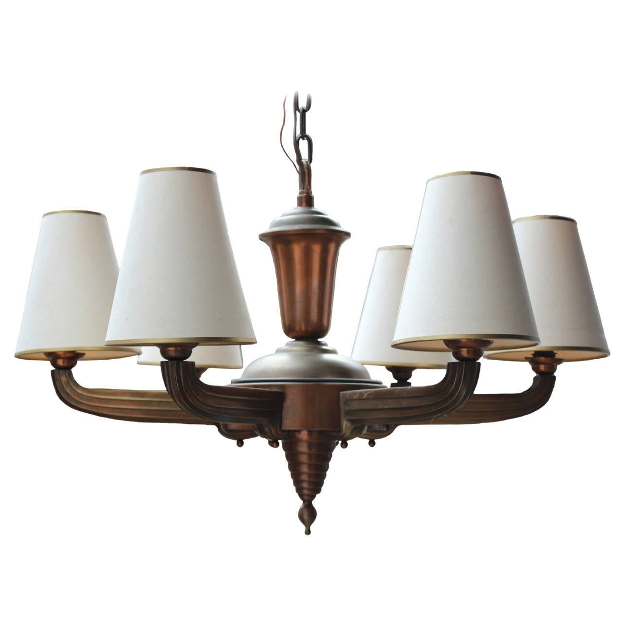 French art deco period bronze chandelier for sale at 1stdibs for Art deco period