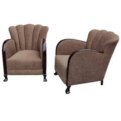Pair of Swedish Scallop-Back, Art Deco Period Bergeres