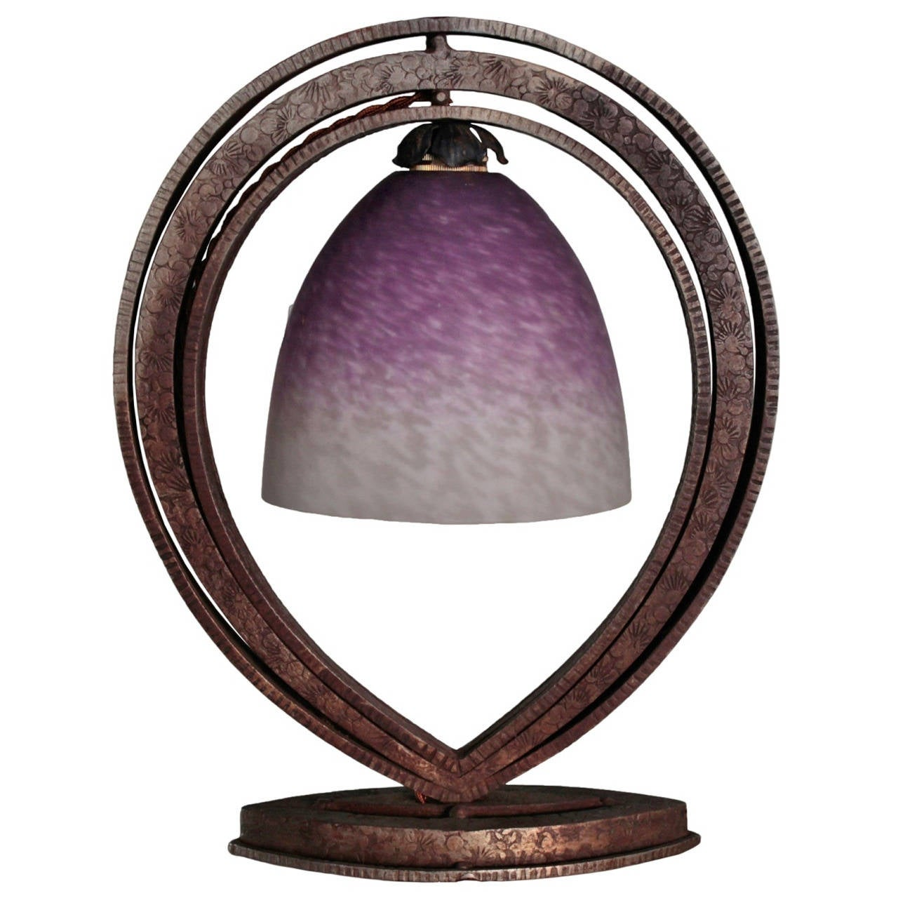french art deco period fer forge and glass table lamp at 1stdibs. Black Bedroom Furniture Sets. Home Design Ideas