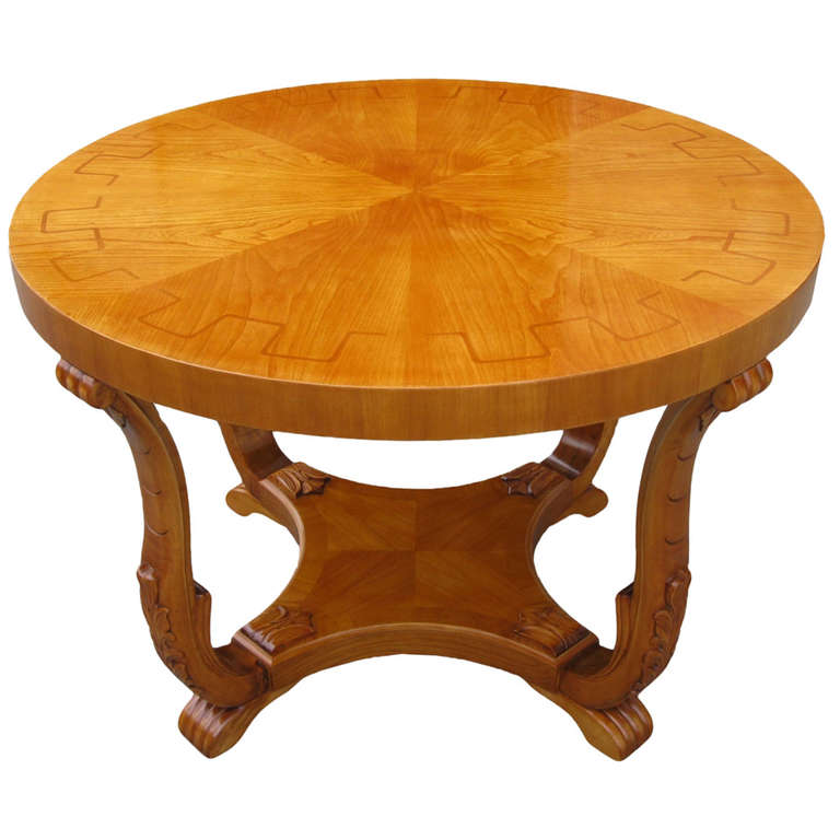 Swedish Art Deco period round cocktail table with inlaid top