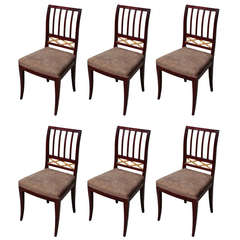 Set of Six Swedish Neoclassical Side Chairs