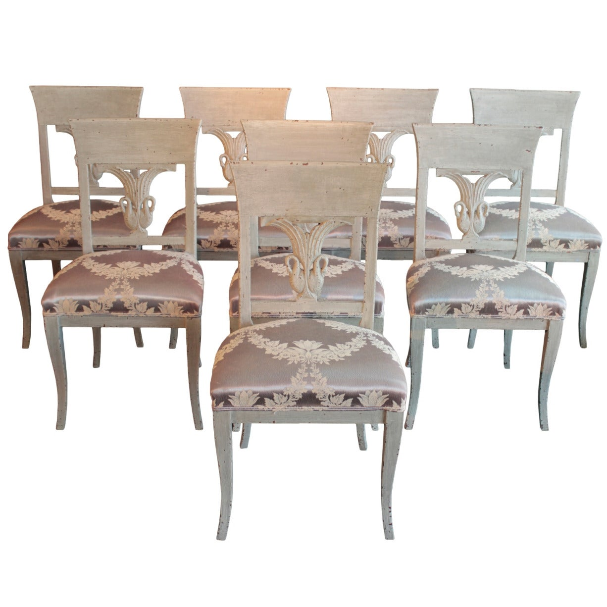 Swedish Set of Eight Neoclassical Painted Side Chairs