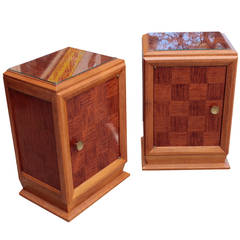 Pair of French Art Deco period nightstands, attributed to Louis Majorelle