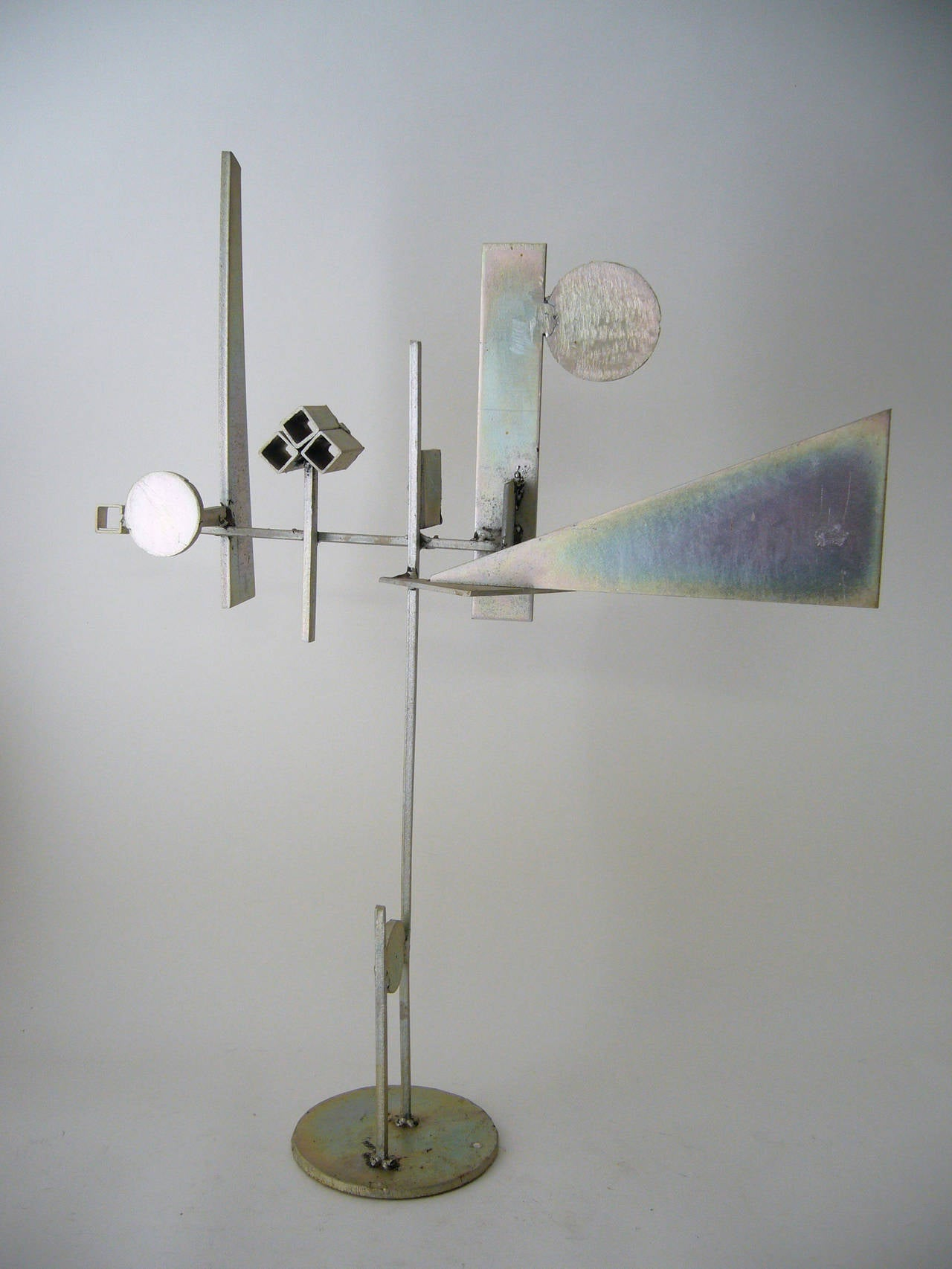 Cadmium plated steel table sculpture by listed artist Paul Kasper of Whittier, California. Sculpture measures 25