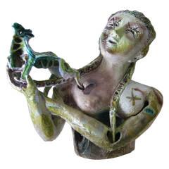 Alessio Tasca Ceramic Italian Modern Surrealist Figurative Bust
