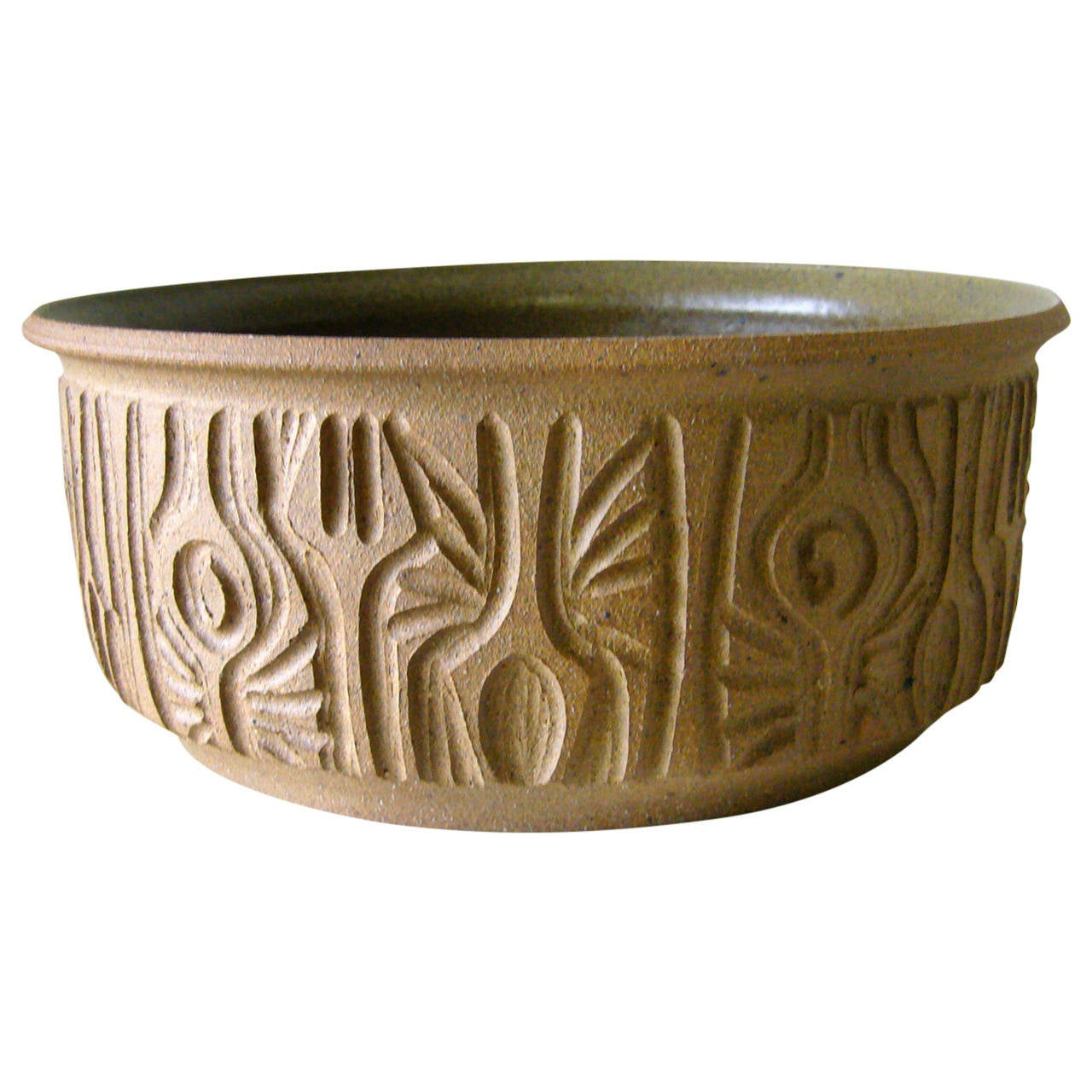 Robert maxwell hand carved studio pottery bowl at stdibs