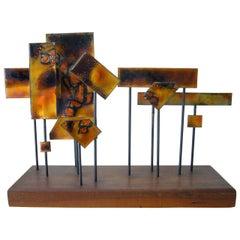 1960s Abstract California Modernist Copper Enamel Sculpture On Walnut Base