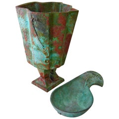 Paolo Soleri Large Modernist Bronze Planter and Bird Bowl