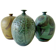 1970s California Modernist Group of Vases from Pottery Shack