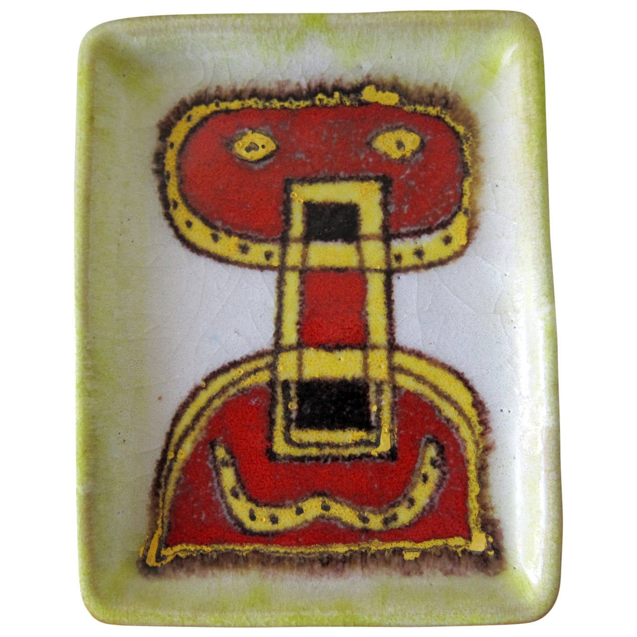 Guido Gambone Italian Modernist Abstract Figural Tray For Sale