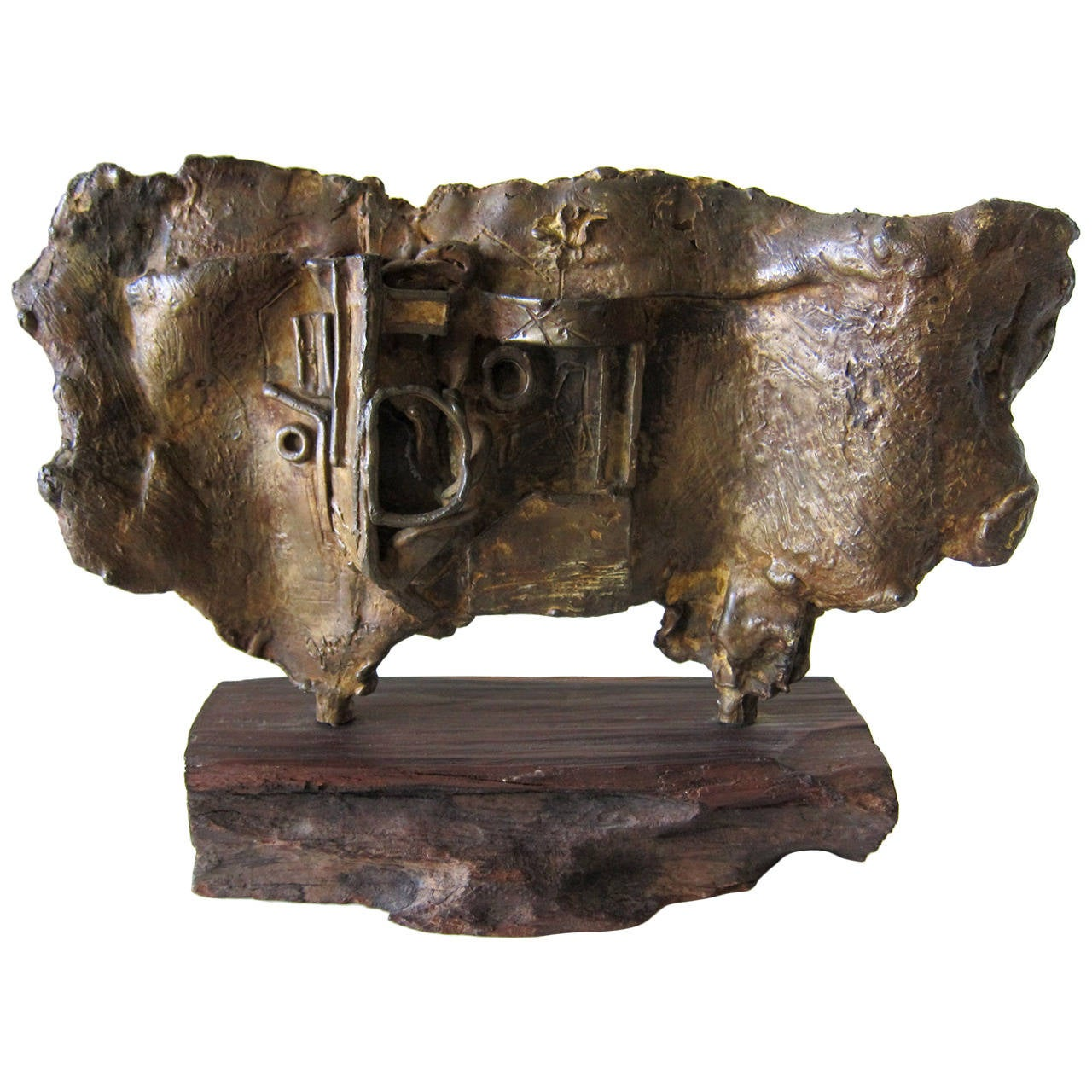 Johnson Abstract Modernist Bronze on Wood Base Sculpture