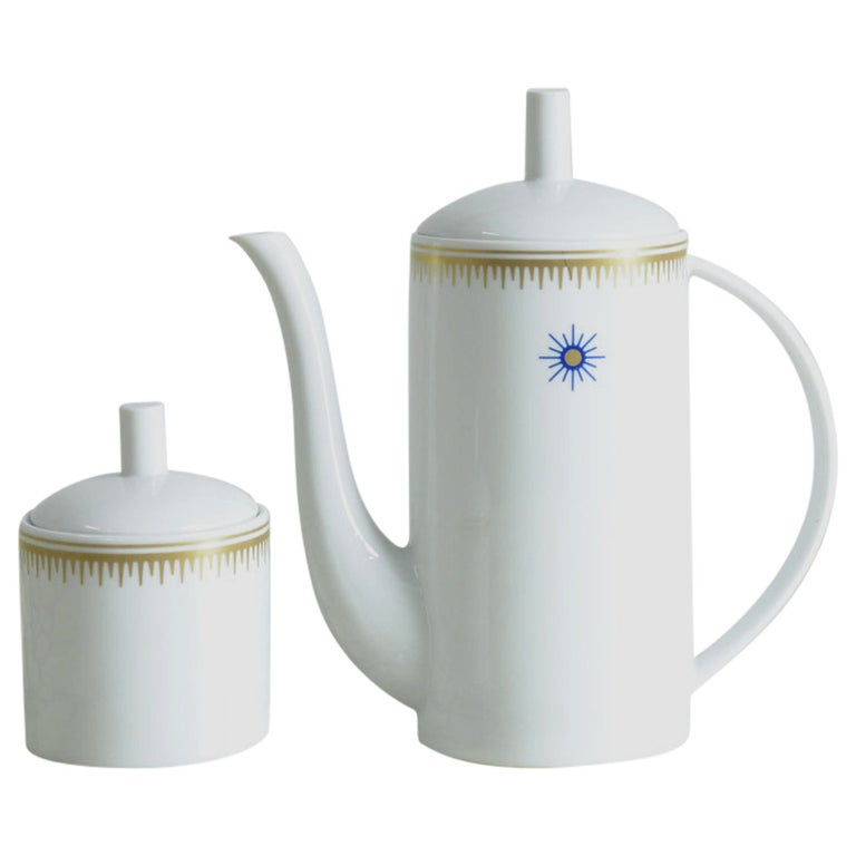 Ceramic Coffee Pot and Sugar Bowl by Alessandro Mendini for Alessi Tendentse