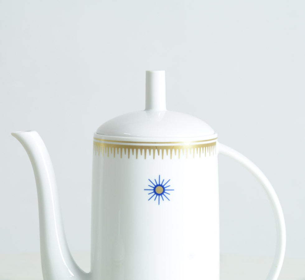 Post-Modern Ceramic Coffee Pot and Sugar Bowl by Alessandro Mendini for Alessi Tendentse
