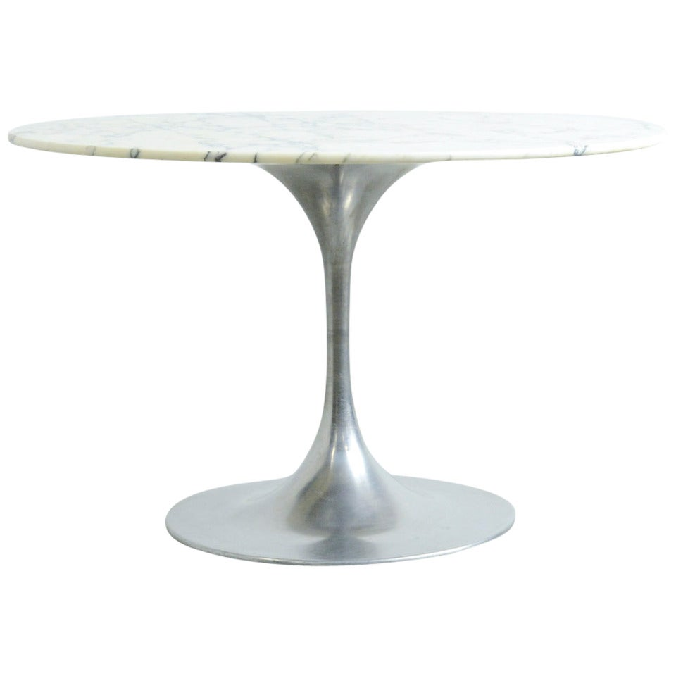 19060s Round Dining Table With Arabescato Marble Top At 1stdibs