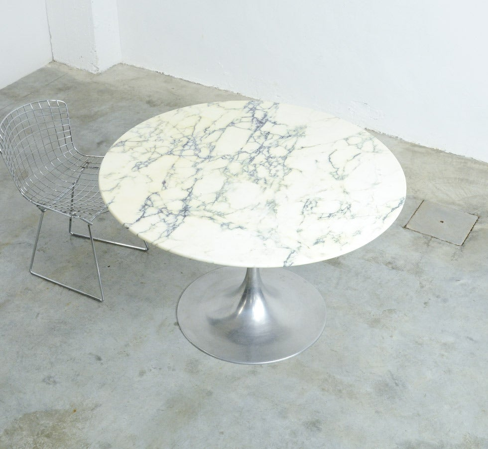 19060s round dining table with arabescato marble top at for Round stone top dining table