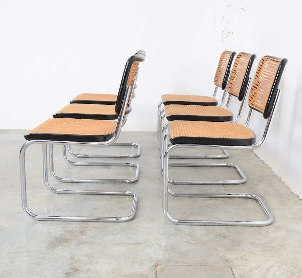 set of six cesca b32 side chairs by marcel breuer for thonet at 1stdibs. Black Bedroom Furniture Sets. Home Design Ideas
