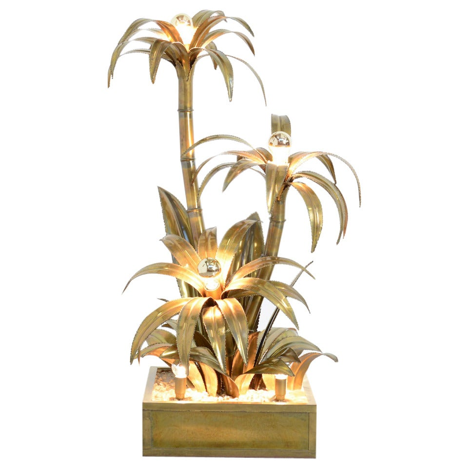 Maison Jansen Brass Palm Tree Floor Lamp at 1stdibs