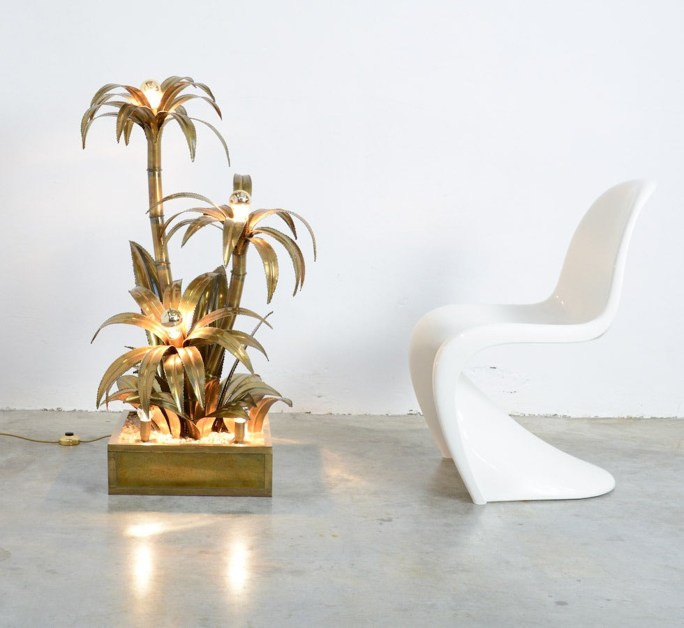 Maison Jansen Brass Palm Tree Floor Lamp At 1stdibs