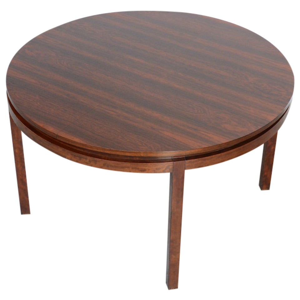 round extendable rosewood dining table by alfred hendrickx for belform